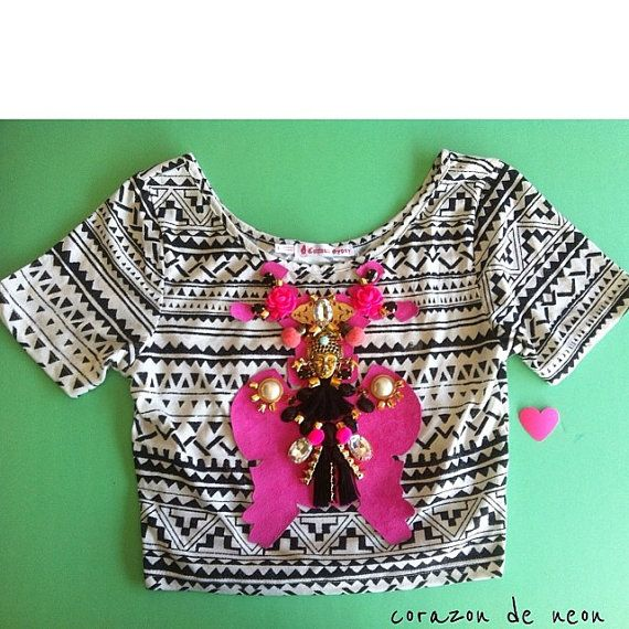 embellished tribal print cropped top by corazondeneon on Etsy, $34.99