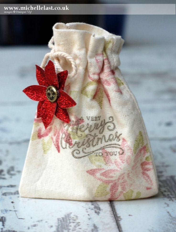 Christmas Gift Packaging using Muslin Bags - SU - Reason for the Season, Festive Flower Builder Punch