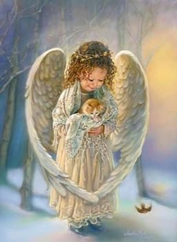 My son loves this picture because she is holding a kitten....he has an amazing connection with Angels and Animals!