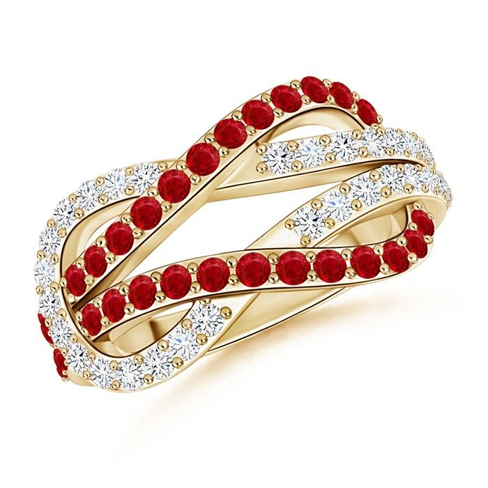 Angara Ruby and Diamond Station Bracelet in Yellow Gold N5I821VqM
