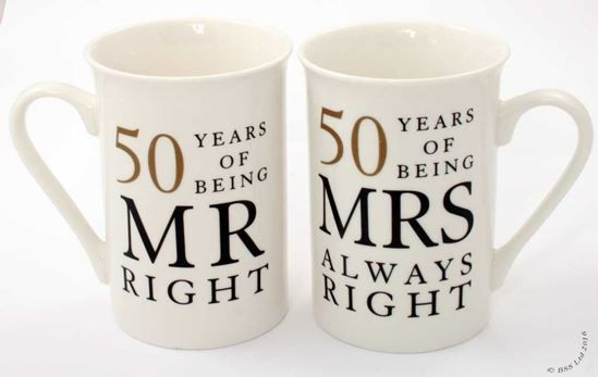 Picture of 50th Anniversary Gift Set of 2 China Mugs 'Mr Right & Mrs Always Right'