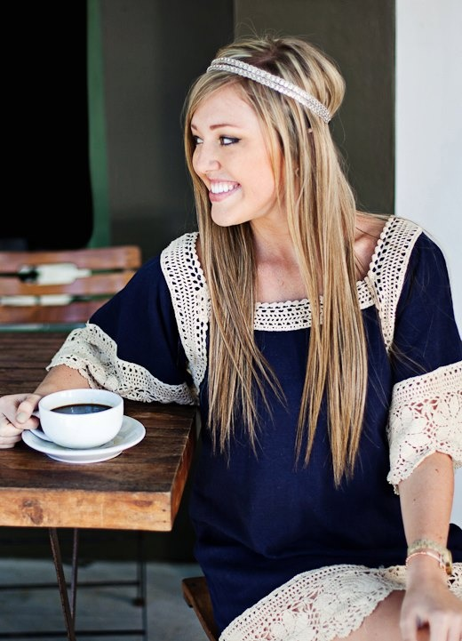 Judith March Navy Dress with Crochet Trim. Looks great on.  Sale $88 Sizes: S,M,L Shop online www.aliandcoboutique.com