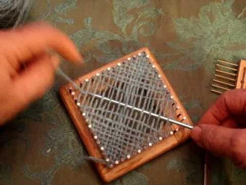 Weaving on square tiny weaver loom.