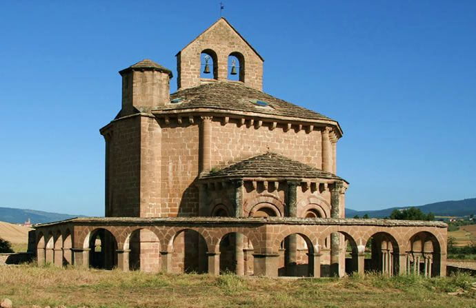 Románico Navarra. Iglesia de Santa Mª de Eunate. Planta dodecagonal inspirada en Santo Sepulcro. Siglo XII.