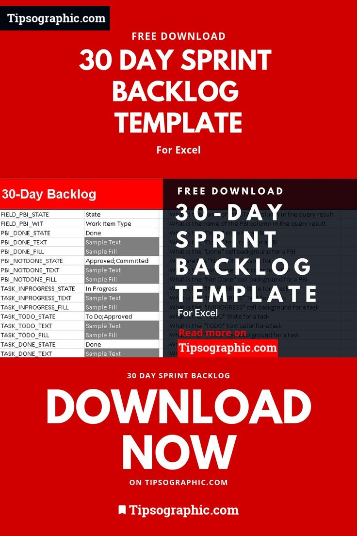 30 Day Sprint Backlog Template for Excel, Free Download