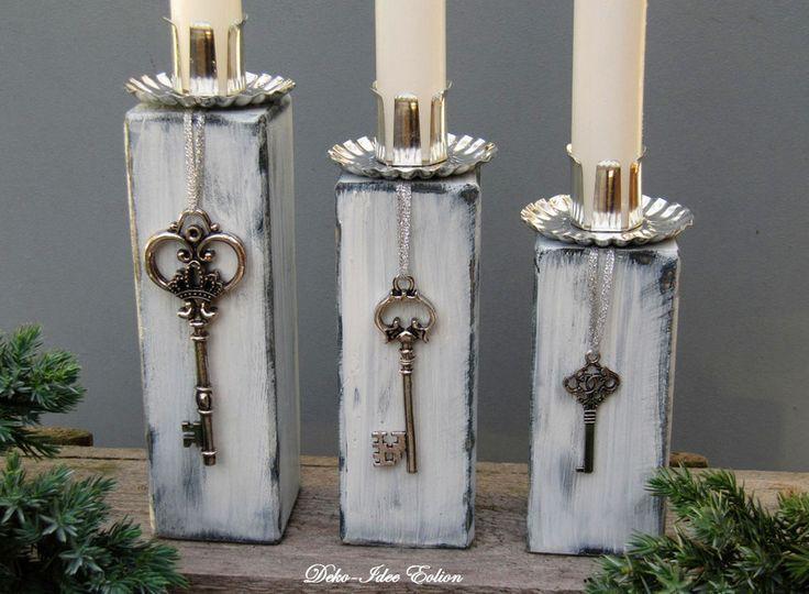 """Weihnachtsdeko – Kerzenständer Set """"Shabby-Schlüssel"""" – ein Designerstück von – Treibholz lampe"""