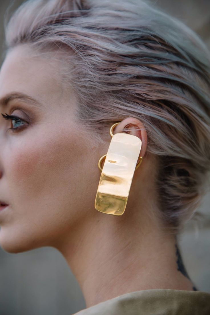 Brick ear cuff #rivajewels #flowercollection #earcuff #goldplated