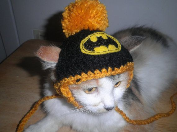 Batman Cat or Dog Hat Crocheted  with Pompom for Halloween Costume on Etsy, $6.00