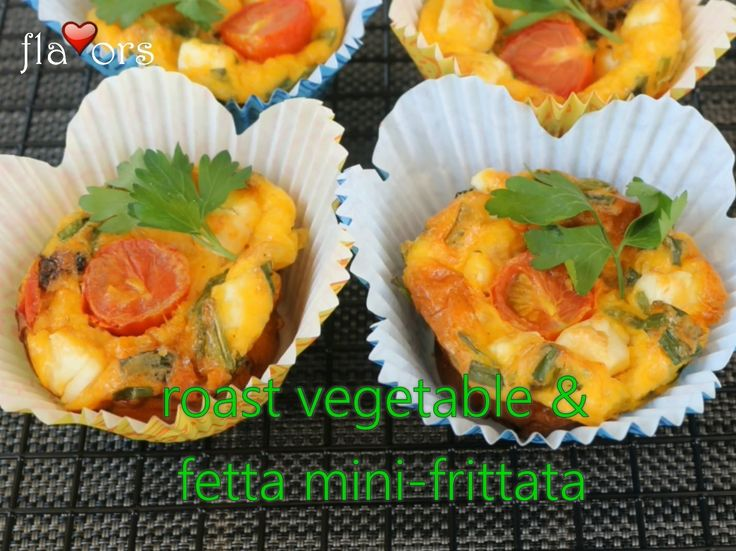 FETTA & ROAST VEGETABLE MINI-FRITTATAS   These mini-frittatas are a quick and healthy meal option that I usually cook for breakfast – but they are great for brunches, picnics, lunch-boxes and snacks as well. Recipe at the YouTube Link.
