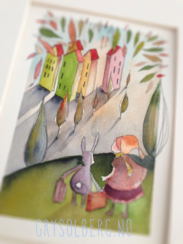 Children's watercolour illustration by Gry Solberg. Title 'Going home' :)