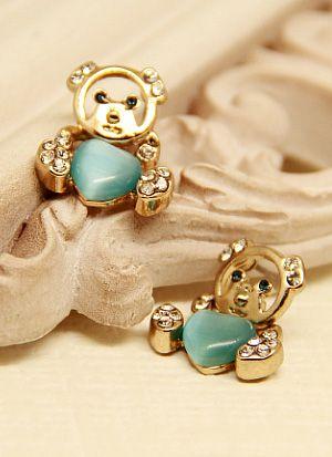 Green Heart Gemstone Gold Bear Earrings US$5.83