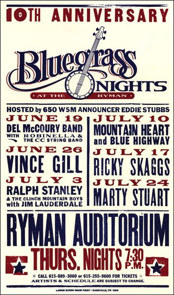 GigPosters.com - Del Mccoury Band - Vince Gill - Ralph Stanley - Mountain Heart - Blue Highway - Ricky Skaggs - Marty Stuart