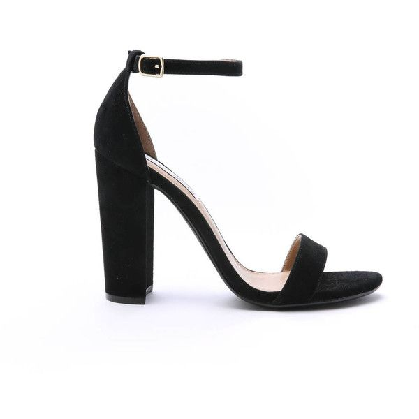 Steve Madden Carson Ankle Strap Heels ($90) ❤ liked on Polyvore featuring shoes, pumps, black, high heel pumps, steve-madden shoes, black pumps, black shoes and black high heel pumps