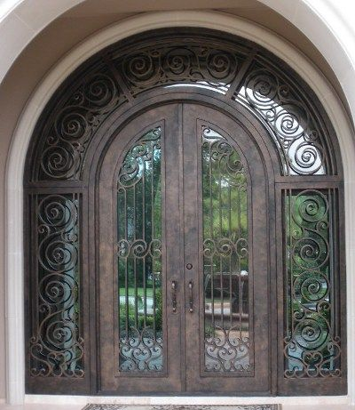 Iron Entry Door With Mirror Glass Can Give A Beautiful