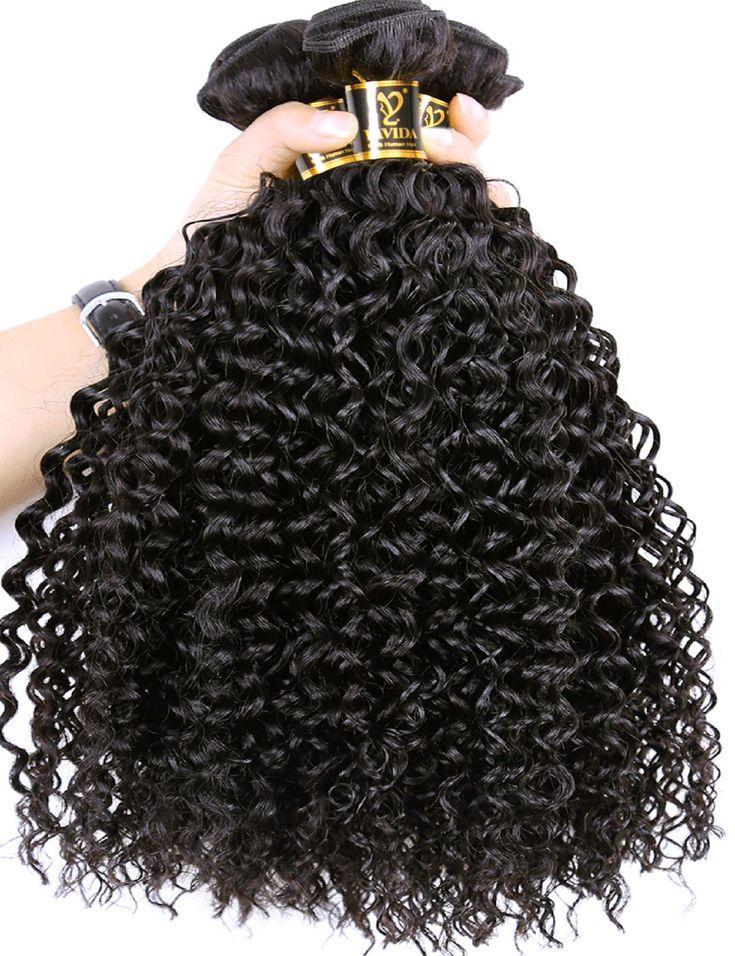 Yavida Peruvian Curly Human Hair Bundles 8A Unprocessed Virgin Kinky Curly Bundles Peruvian Human Hair Extensions Weave 300g Natural Black Color(16 18 20 Inch)