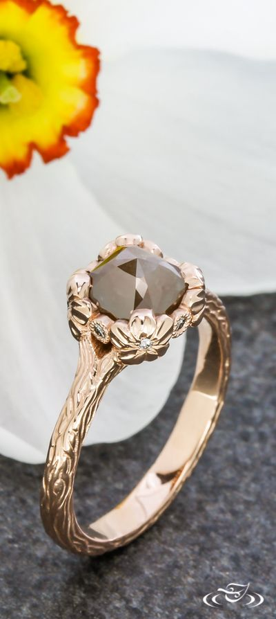 Rose Gold Floral Rustic Engagement Ring. Green Lake Jewelry 108152
