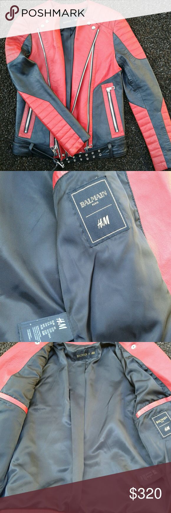 Balmain H&M Men's Leather Jacket Black & Red Stunning in New condition.  Balmain of Paris Moto jacket. Balmain Jackets & Coats Performance Jackets