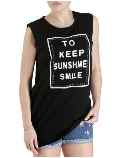 ΓΥΝΑΙΚΕΙΑ ΡΟΥΧΑ :: Φορέματα :: Μπλούζοφόρεμα Just Smile Black - OEM