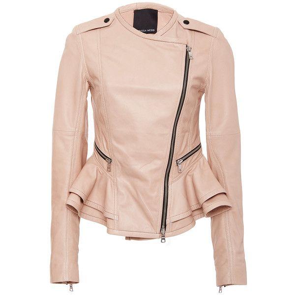 Marissa Webb     Shane Leather Peplum Jacket ($900) ❤ liked on Polyvore featuring outerwear, jackets, nude, real leather jackets, pink jacket, flare jacket, collarless jacket and pink peplum jacket