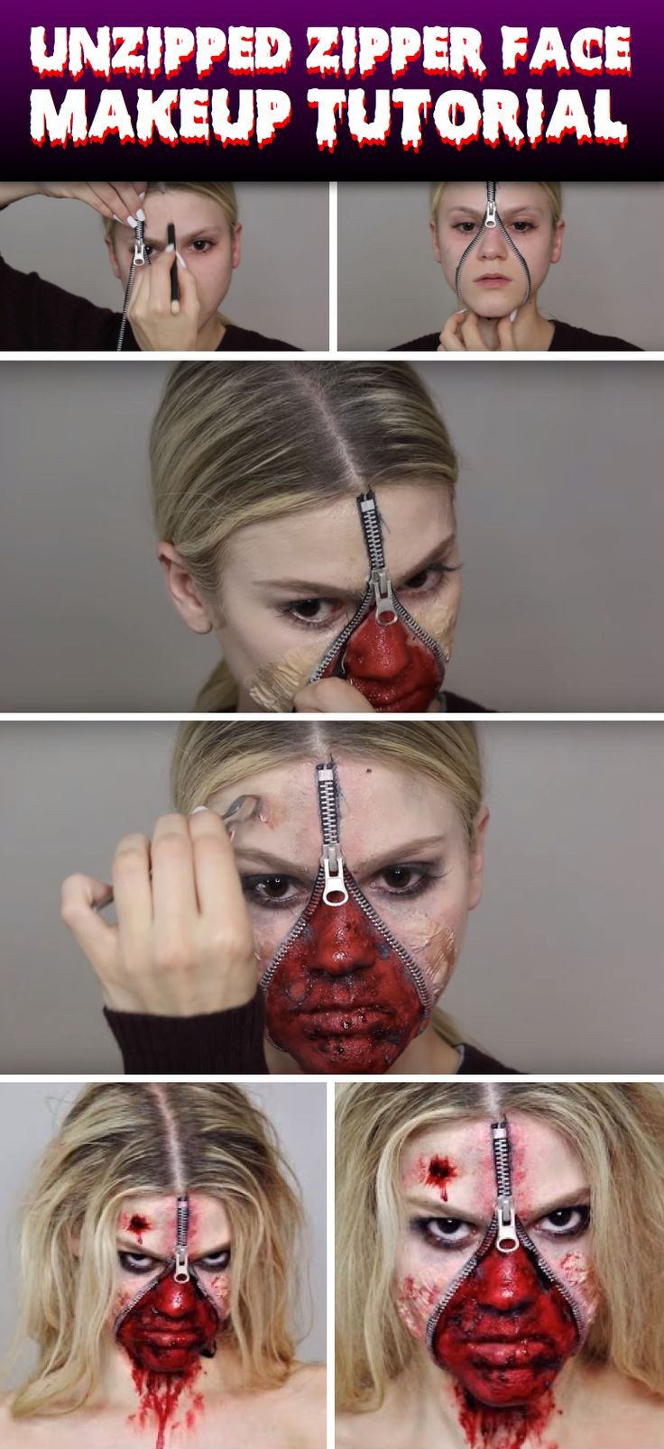 get all gruesome and spooky with this unzipped zipper face halloween makeup