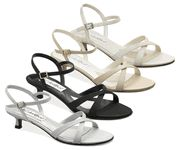 Lindsay shoe by Coloriffics low heel  ivory,  black and silver Sale!