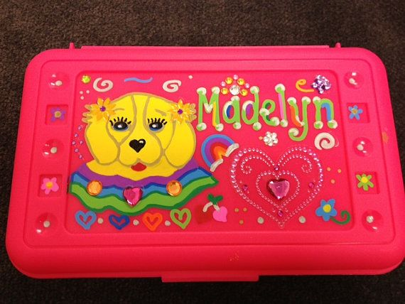 Personalized Puppy Dog Brown Crayons Box Storage Art Supply Pencil Case Party Favor Rhinestones Bling Kins