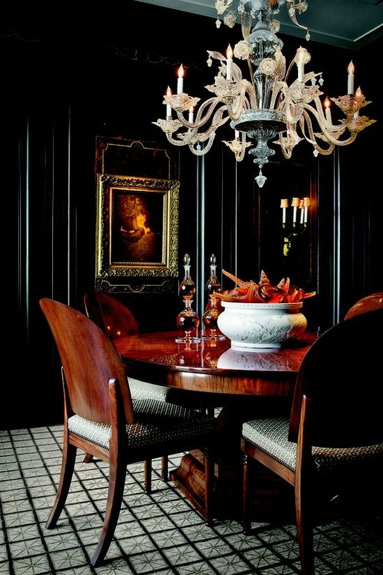 Venetian Glass Chandelier In A Dining Room With Black Lacquer Walls