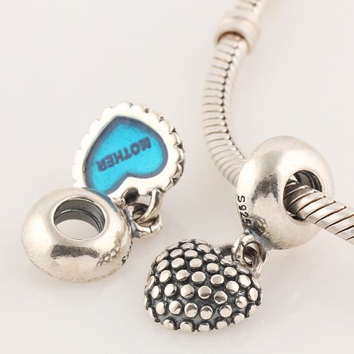 Compatible With Pandora Bracelet LW178 Mom Mother & Son Blue Heart 925 Sterling Silver Screw Dangle Charm Beads DIY Jewelry,