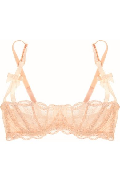 Peach Lace Balconette Bra