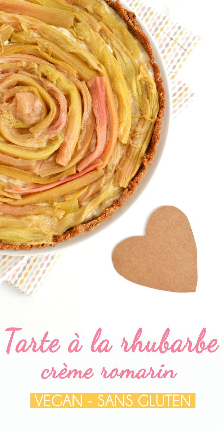 Tarte à la rhubarbe, crème pâtissière romarin (vegan, sans gluten) - www.sweetandsour.fr Sweet & Sour   Healthy & Happy Living