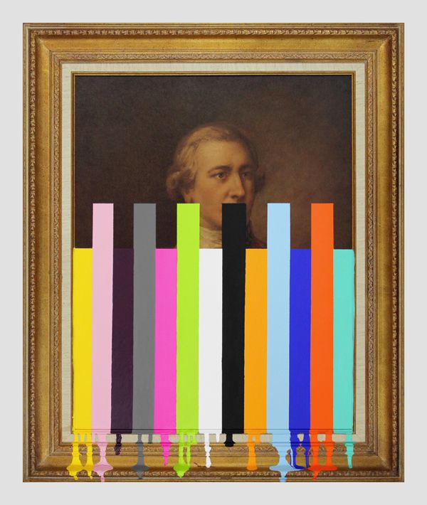 """Chad Wys, Garage Sale Picture of an english officer with bars  --  2013  35.5"""" x 29.5"""" x 2""""  paint on found print and frame"""