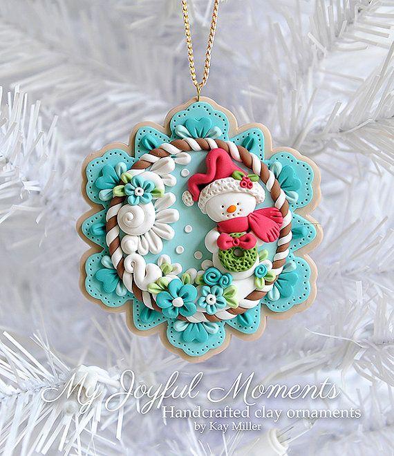 Handcrafted Polymer Clay Christmas Snowman di MyJoyfulMoments