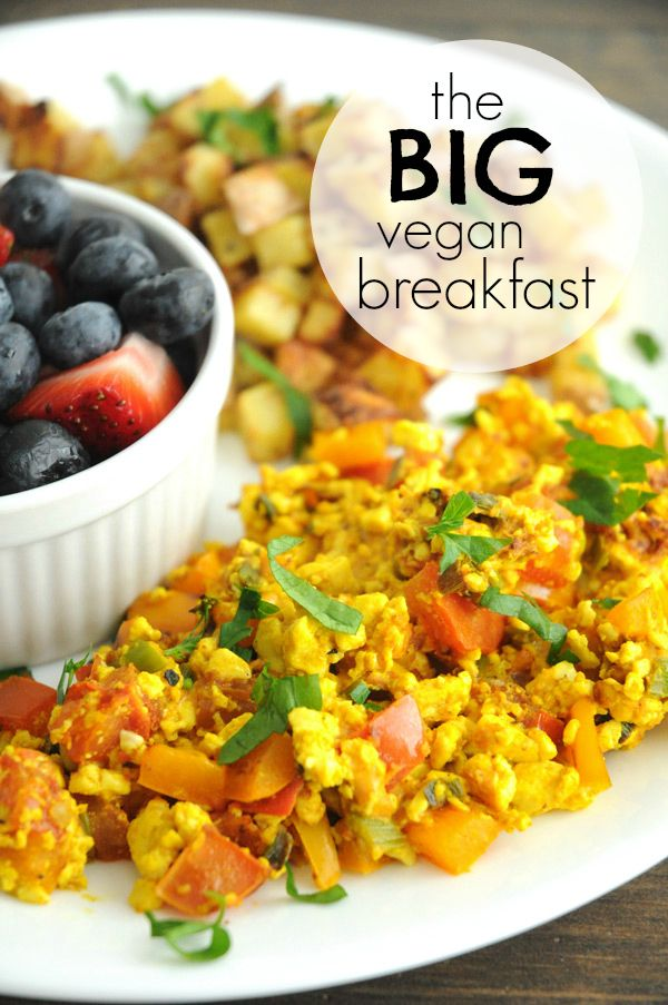 The Big Vegan Breakfast (Scrambled Tofu, Roasted Potatoes and Fruit) - If you haven't tried scrambled tofu yet, you need to make this recipe. It's amazing! Not only does the tofu taste good, but the baby roasted potatoes will make your mouth water, too. Yum!