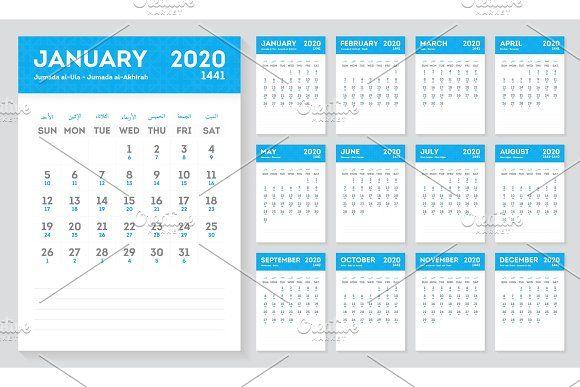 Islamic Calendar Year 2020 1441 Islamic Calendar Yearly Calendar Calendar