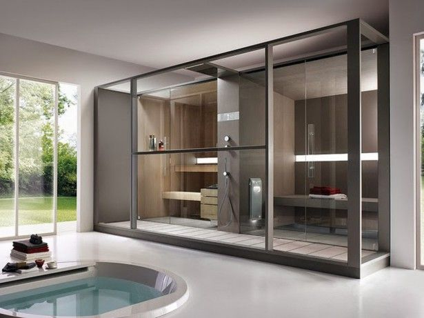 Contemporary Sauna Design With Glass Wall For Exclusive Bathroom Ideas