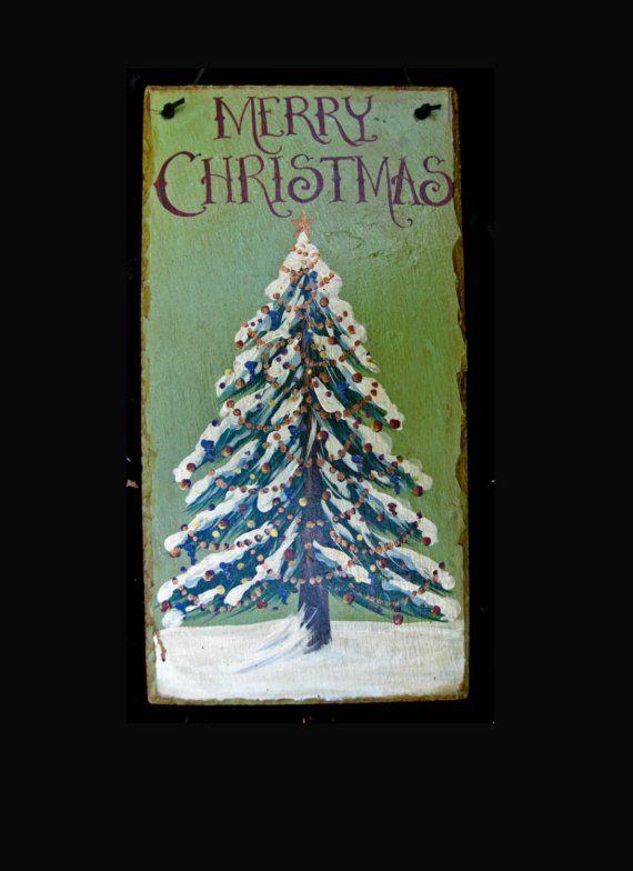 Old World Christmas Tree Hand Painted On Slate Pinterest