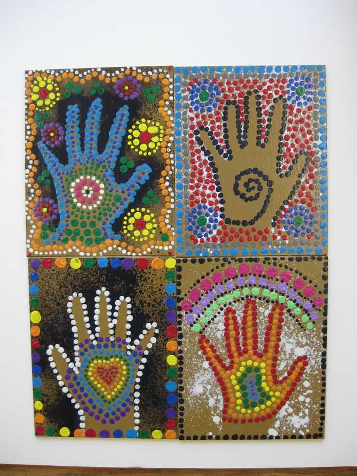 Ms Maggie Mo's Australian Aboriginal hand project: spray hand with thinned white or black tempera, student paints dots with sticks.