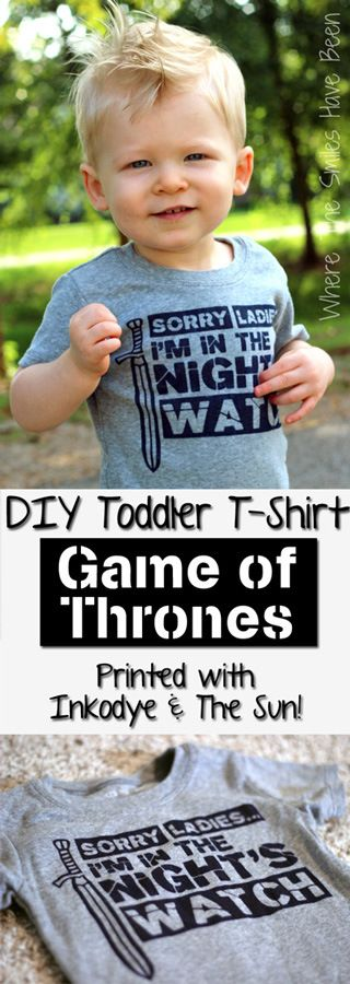 DIY Game of Thrones Shirt printed with Inkodye and the SUN!  A great {cool} alternative to heat transfer vinyl or fabric paint!