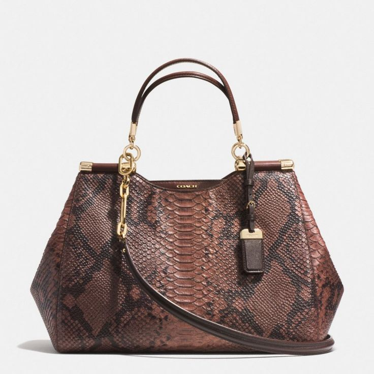 The Madison Caroline Satchel In Diamond Python Embossed Leather from Coach