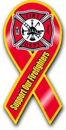 """Firefighters let us all sleep better at night - show how you care with this fire fighters ribbon magnetThis """"Support our Firefighters and fire department  ribbon magnet"""" is 3 7/8"""" x 8"""" and designed for indoor or outdoor use."""