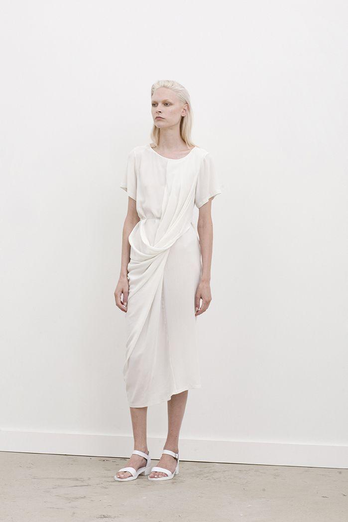 Windsor short sleeved twist front dress
