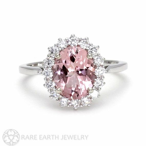 Pink Moissanite Engagement Ring Platinum Conflict Free Diamonds Oval Cluster Halo Wedding