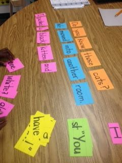 Easy Sentence Strip Center Idea!  This could work with vocabulary words in context also.