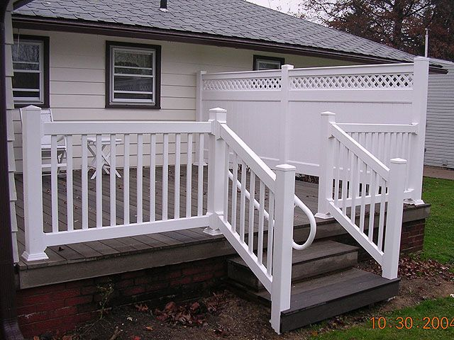 Vinyl Deck Railing Visit lots of Deck Railing Ideas http://awoodrailing.com/2014/11/16/100s-of-deck-railing-ideas-designs/