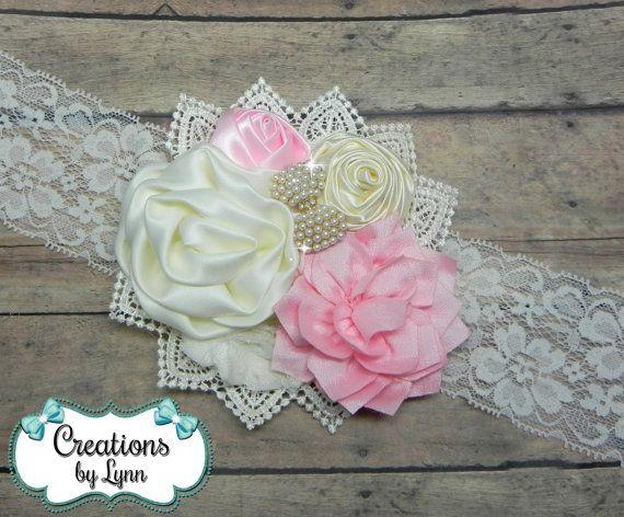 Pink & Cream Flower Cluster Headband by CreationbyLynn on Etsy