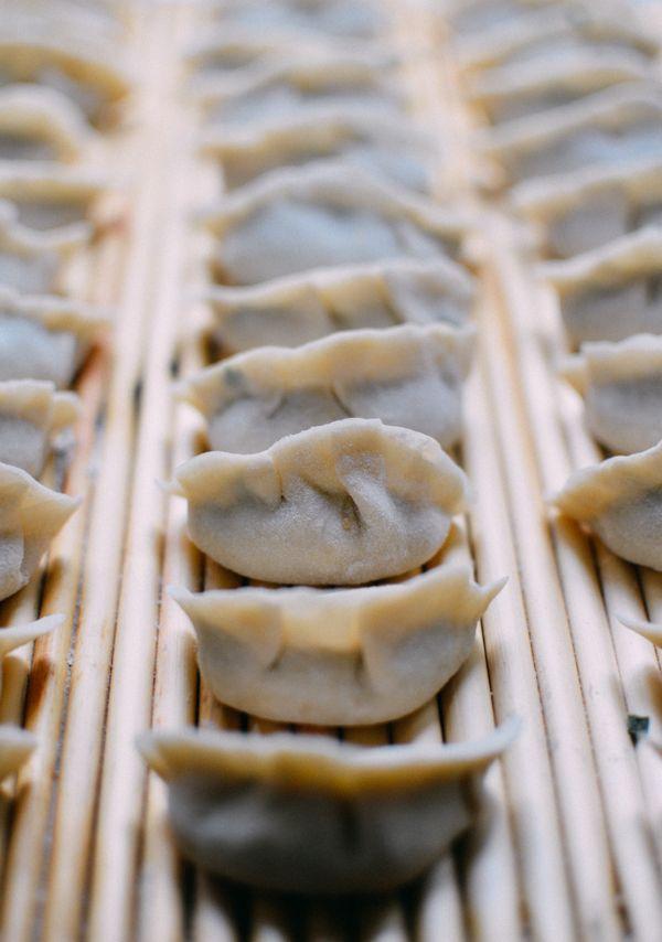 Traditional Beijing Pork Chive Dumplings (with Homemade Dumpling Wrappers), by thewoksoflife.com