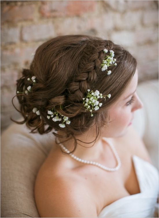 wedding hair accented with babys breath