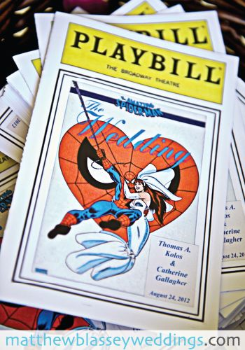 Swap out for Iron Man and we have a program   PLAYBILL WEDDING PROGRAMS. - could also think comic book wedding invitations  (i like the idea that the program is the playbill as that is what you get at a play as the program)