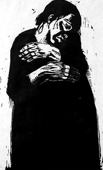 This Katte Kollwitz print belonged, number 6 in a series of lithographs, belonged to my father's mother, and hung in our house when I was growing up.