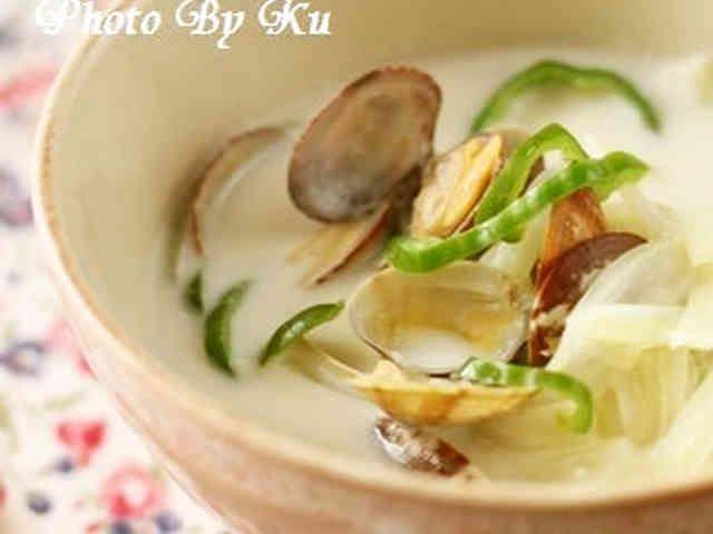 あさりと白菜のミルクスープの画像